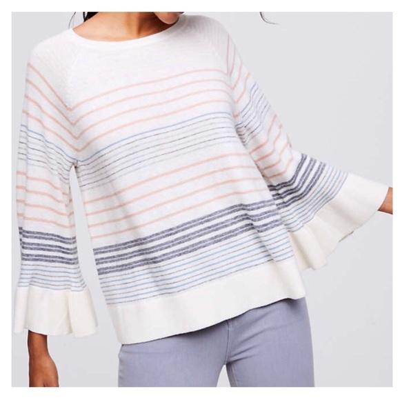 0a9bfc16801 LOFT Mixed Stripe Bell Sleeve Sweater XL